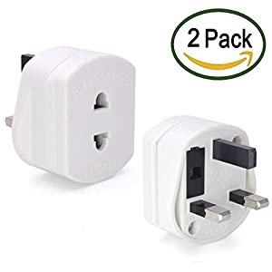 【2 Pack】Heavy Duty UK 1A Electric Shaver Razor Adaptor 2 To 3 Pin Toothbrush Plug Socket Converter