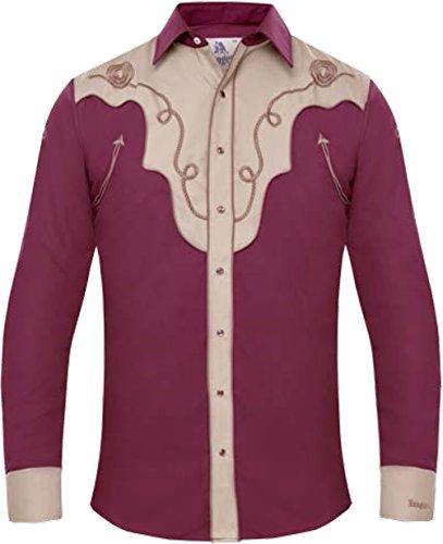 Modestone Men's EmbroideWine Fitted Western Hemd Filigree Wine L - Panhandle Slim Rock