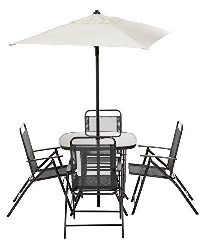 Set da giardino con tavolo 80x80, 4 poltrone in acciaio e textilene più ombrellone