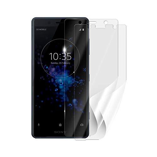 Screenshield Schutzfolie Sony Xperia XZ2 Compact H8324 [2 Stück, 2 Versionen] - volle Abdeckung des Displays bei Verwendung mit oder ohne Handyhülle; kein Panzerglas