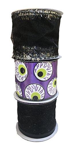 Lila BAND MIT Cut Sheer Schwarz mit Glitzern und schwarz mit silber Lametta Bundle Of Drei Halloween themed Draht eingefasst Bänder