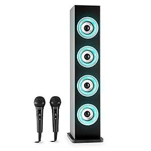 auna Karaboom • karaoke • lettore karaoke • kit karaoke • 4 altoparlanti a banda larga • bass reflex • Bluetooth • 2 microfoni dinamici • regolabile separatamente • Porta USB • Capacità MP3 • nero