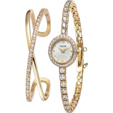 Accurist LB1799 Ladies Gold Tone Watch and Bangle Gift Set