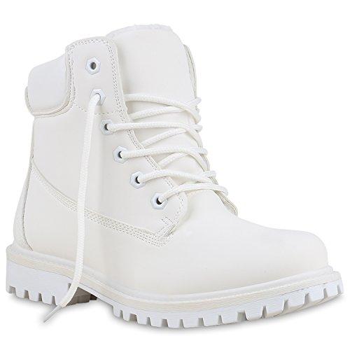 Worker Boots Unisex Damen Herren Outdoor Stiefeletten Zipper Warm Gefüttert Weiß Creme