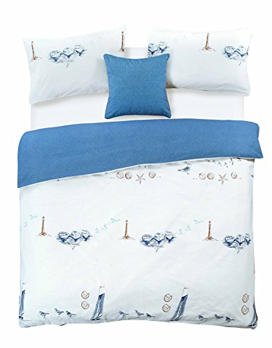 BEACHCOMBER DUVET QUILT COVER NAUTICAL BOAT SHIP LIGHTHOUSE SEA BIRDS SHELLS BEDDING SET – BLUE (Double)