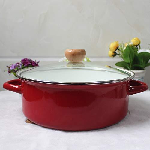 YHUJH Casserole de lait en pot émaillé 26Cm 3L Épais pot rouge en pot chaud pot à soupe Cuisinière Cuisinière à induction Gaz Pot universel, droit Pot (Color : Straight Pot)