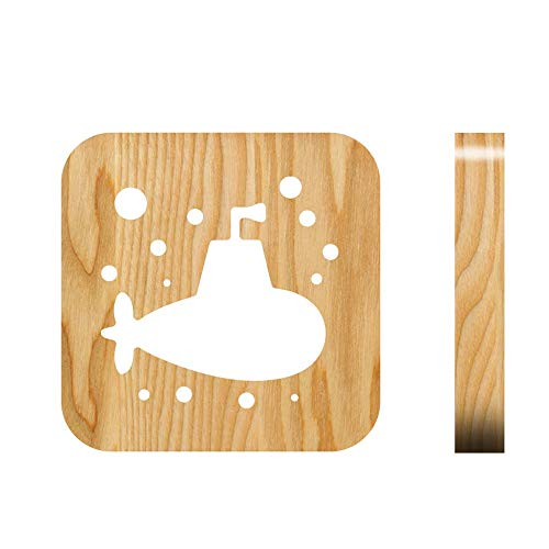 Belief Rebirth LED Holz Nachtlicht für Kinder 1pcs, 3D Gravur Submarine Holz Licht - USB Powered Port, Ideal Marine Enthusiast Lampe, Schreibtisch Licht für Party Dekoration & Weihnachtsgeschenk -