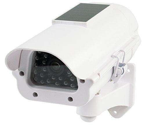 König-panel (König Profi Kamera Dummy mit Solar Panel + blinkender LED blinkende LEDs - Tolle Überwachungskamera Attrappe CCD IP44 Aussenbereich Kameraatrappe Innen Außen Fake Überwachung Haus Sicherheit Security)