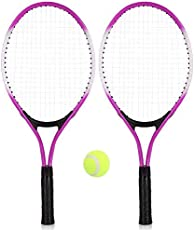 Kurtzy Set Of 2 Kids Tennis Racket With One Ball And One Carry Bag With Perfect Grip