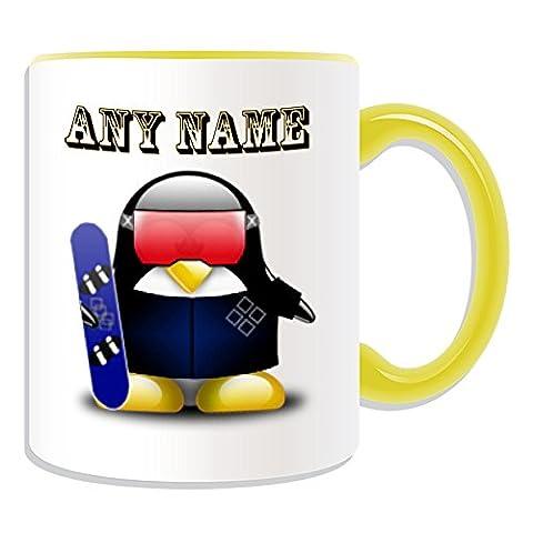 Personalisiertes Geschenk–Snowboard–# 2Becher (Design Pinguin in Kostüm Thema, Farbe Optionen)–alle Nachricht/Name auf Ihre einzigartige–Boarding Extreme Sport Skateboard Winter Olympics, keramik, (Olympic Sport Kostüme)