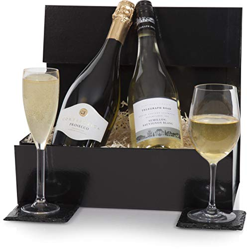 Luxury Prosecco & White Wine Gift Duo Hamper Presented In A Gift Box - Wine Hampers