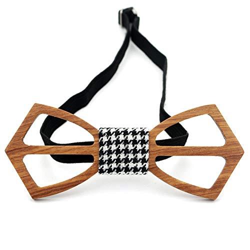 ZSRHH-Neckchiefs Halstücher Herren Krawatte Classic Tuxedo Handmade Hollow Wooden Bow Tie einstellbar (Farbe : Braun) (Classic Tuxedo)