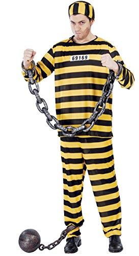 gelb schwarz gestreifter Sträfling Kostüm für Herren Gr. M - L, (Herren Sträfling Kostüme)