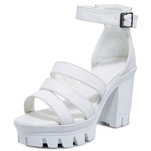 COOLCEPT Damen Mode Knochelriemchen Sandalen Open Toe Blockabsatz Plateau Schuhe White