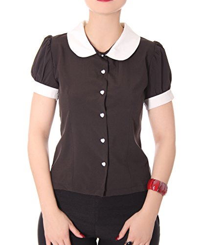 SugarShock Iffi 50er retro Bubikragen French Maid Rockabilly Puffärmel Bluse -