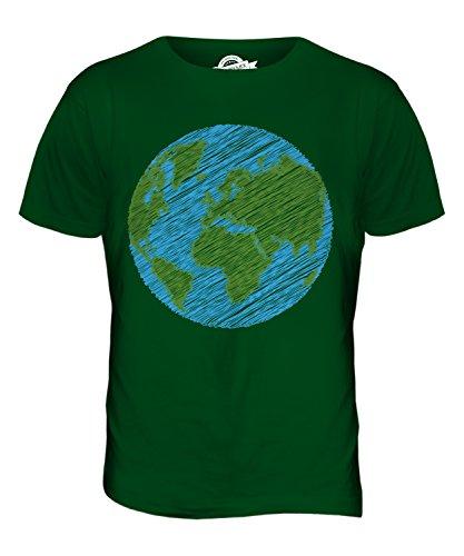 CandyMix Pianeta Terra Scarabocchio T-Shirt da Uomo Maglietta Verde bottiglia