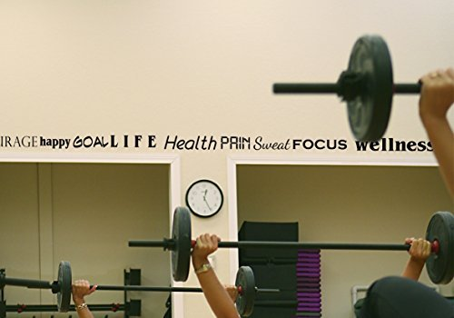 Katazoom Gym Wall Motivational Inspirational Fitness Decal Border/words - 4.5 Inches X 20 Feet Long - Black - Removable Vinyl Wall Decal By Katazoom