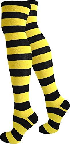 normani 3 Paar Damen Overknees Kniestrümpfe geringelt handgekettelte Fußspitze in verschiedenen Farben wählbar Farbe Schwarz/Gelb
