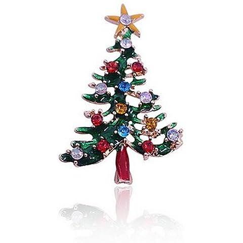 OUYANG las mujeres del árbol de Navidad verde broches oso polar , green-one size , green-one size