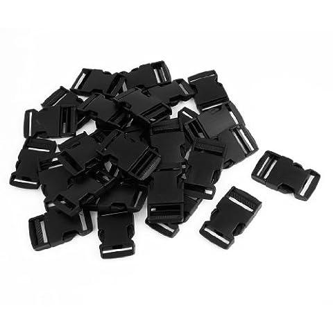 Boucle dégagement latéral plastique noir 30 pièces pour ceinture largeur 2.5cm
