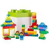 Ultrakidz Bausteine Set, 85 Steckbausteine von klassisch bis zu Sondersteinen, passend für Lego Duplo – alle Konstruktionsbausteine kommen in einer Aufbewahrungsbox mit Deckel in Bausteinform