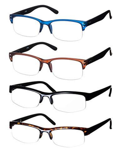 Lesebrillen im 4er-Set / Brillenform Rechteckig Brillengestell aus Kunststoff Matt Halbkreis Motiv Leopard und Uni + 3.5