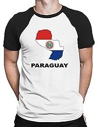 Teeburon Paraguay Country Map Color Camiseta Raglan