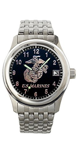 AquaForce Aqua Force Marines Frontier Watch with 40mm Black Face and Stainless Steel Band