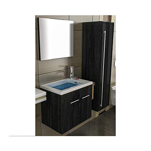 bad1a Badezimmer Möbel 50 cm Breit Waschbecken Rechteckig Design Spiegel Unterschrank wan
