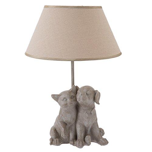 Lampe à poser forme chat et chien beige H46cm