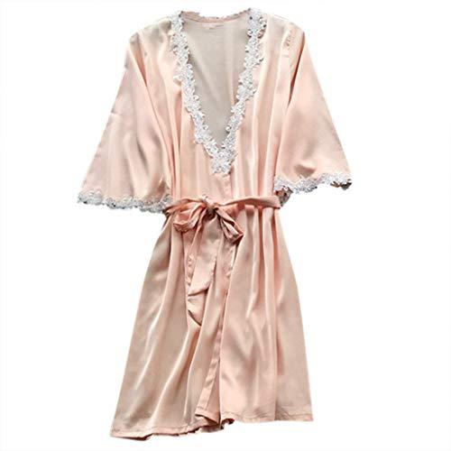 ABsoar Lingeries Damen Dessous Frauen Nachtwäsche Hübsch Lange Seide Kimono Morgenmantel Babydoll Bath Robe Unterwäsche Set Unterwäsche Lingerie Frauen Spitzenkleid (Günstige Roben Damen Seide)