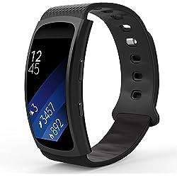 MoKo Samsung Gear Fit2 Correa, Fit 2 Pro Pulsera Deportiva Silicona Suave Reemplazo Sport Band para Samsung Gear Fit 2 SM-R360 Smart Watch, Negro (3 Piezas de Bandas incluido para 2 Longitudes)