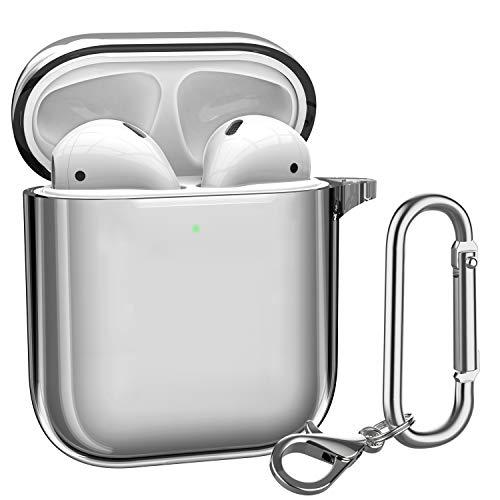 ATUMTEK AirPods Hülle TPU AirPods Case, Glasklare AirPods Schutzhülle Kompatibel mit Apple AirPods 1/2 Kabellose Ladehülle mit Karabinerhaken/Schlüsselanhänger [Front LED Sichtbar] - Klares Schwarz