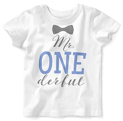 Mikalino Baby/Kinder T-Shirt mit Spruch für Jungen Mädchen Unisex Kurzarm Mr One Derful | handbedruckt in Deutschland | Handmade with Love, Farbe:Weiss, Grösse:80/86