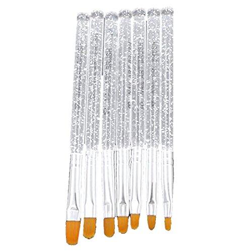 7Pcs UV Gel Pinsel Feder Nagel Kunst Malerei Zeichnung Pinsel Werkzeug Sets Silber