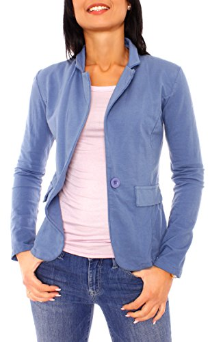 Damen Sommer Sweat Jersey Blazer Jacke Sweatblazer Jerseyblazer Sakko Kurz Ungefüttert Langarm Uni Einfarbig Jeansblau L - 40 (XL)