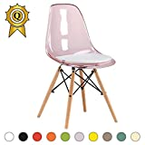 MOBISTYL 1 x Chaise Design Inspiration Eiffel Pieds Bois Clair Assise Translucide Rose DSWL-TP-1