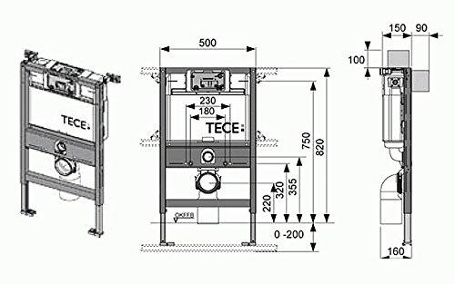 Tece Teceprofil-WC-Modul mit Tece-Spülkasten Bauhöhe 820 mm, 90/110 mm, 9300001