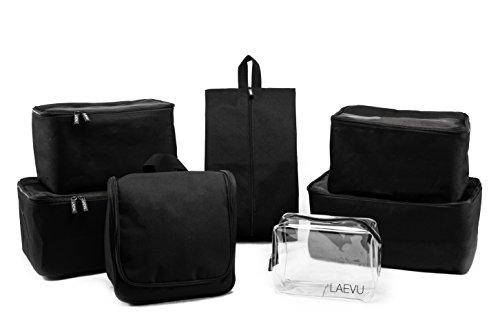 LAEVU Packing Cubes, Packtaschen für Ihre Reise, 7-teiliger Kofferorganizer mit TSA genehmigtem Kosmetikbeutel und Kulturbeutel zum Aufhängen, Schwarz
