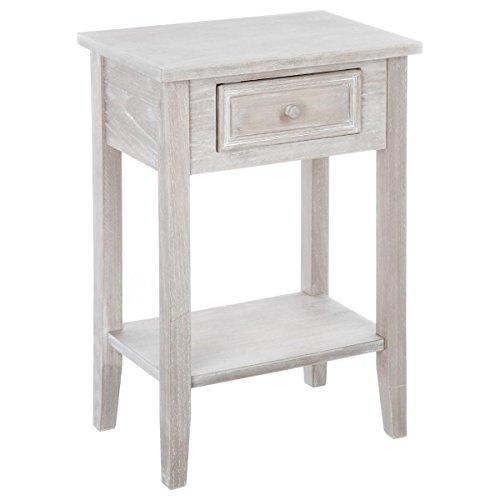 Beistelltisch – Nachttischmit 1 Schublade – Farbe Holz weiß lasiert