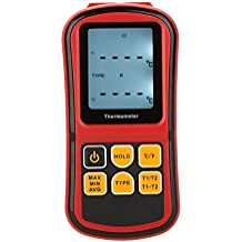 KKmoon GM1312 Digital Thermometer Dual-channel Temperature Meter Tester for K/J/T/E/R/S/N Thermocouple with LCD Backlight