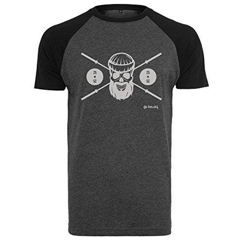 Go Heavy Herren Baseball Shirt - BARBELL SKULL - grau/schwarz - M
