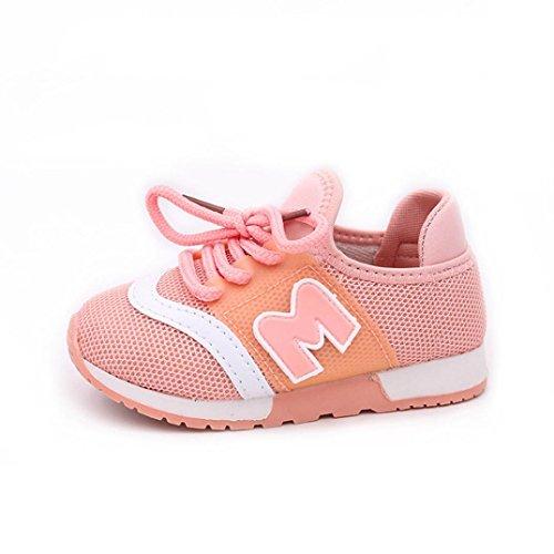 Babyschuhe Sommerschuhe Mädchen Hausschuhe Hirolan Sportschuhe Kleinkind Turnschuhe Kinder Sport Laufen Baby Schuhe Jungen Brief Mesh Schuhe Krabbelschuhe (21, Rosa) (Schicke Stiefel Mädchen Für)