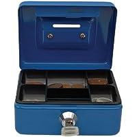 Cathedral - Caja metálica para dinero, cerradura, 2 llaves, color azul