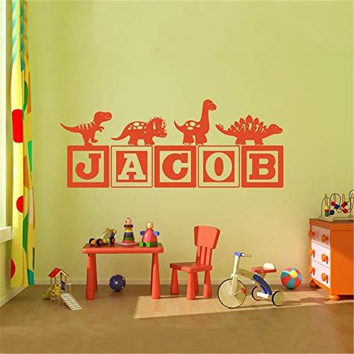 Wandaufkleber Kinderzimmer Neue Jungen Dinosaurierblöcke Name Kinderzimmer Kinderdekoration Sie wählen Name und Farbe -