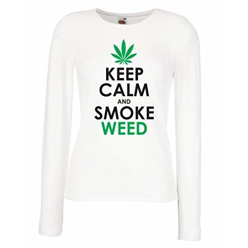 lepni.me Manches longues Femme T-shirt Reste calme et fumez - feuille de marijuana - fumeur d'herbe Blanc Noir