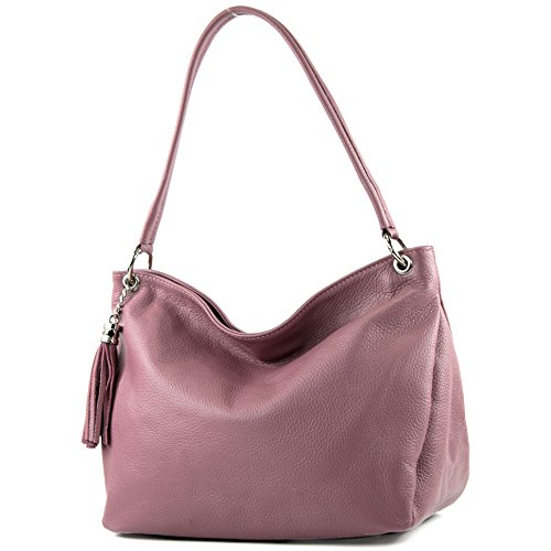 modamoda de - ital. Ledertasche Damentasche Schultertasche Umhängetasche Echtleder T154, Präzise Farbe:Altrosa (Leder Italienische Handtasche)