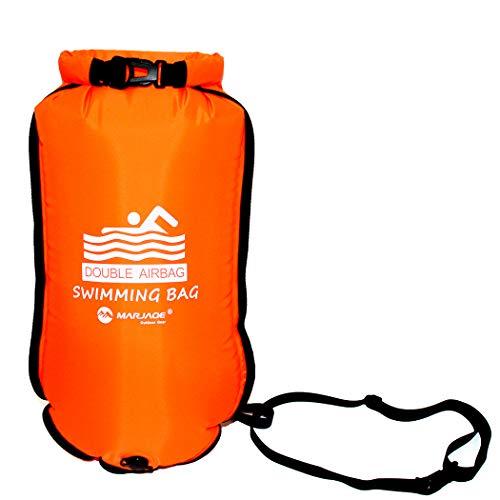 Huanou Boya Natación Aguas Abiertas con Cinturón 20L Bolsa Estanca Impermeable Flotador Swimming Waterproof Dry Bag Unisex Adulto Triatlon Naranja