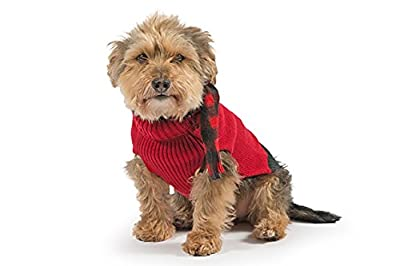 Dog Puppy Knitted Autumn Winter Jumper with Tartan Matching Scarf