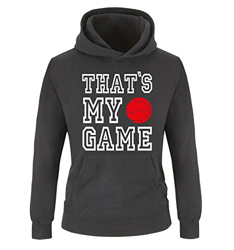 Comedy Shirts That's My Game - Basketball - Kinder Hoodie - Schwarz/Weiss-Rot Gr. 140
